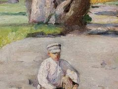 Garson sitting in front of a tree – Nikolay Bogdanov-Belsky
