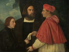 Girolamo and Cardinal Marco Corner Investing Marco, Abbot of Carrara, with His Benefice – Titian