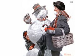 Gramps and the Snowman – Norman Rockwell