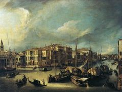 Grand Canal Looking Northeast from near the Palazzo Corner Spinelli to the Rialto Bridge – Canaletto