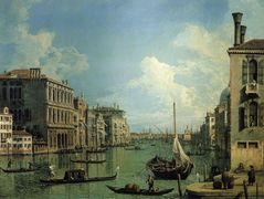 Grand Canal Nethe Campo San Vio, Looking Towards the Church of SanMaria della Salute – Canaletto