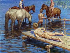 Horses Bathing – Nikolay Bogdanov-Belsky
