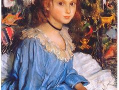 Katya in blue dress by christmas tree — Zinaida Serebriakova