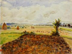 Landscape at Eragny, Clear Weather – Camille Pissarro