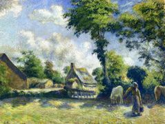 Landscape at Melleray, Woman Carrying Water to Horses – Camille Pissarro