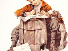 Little boy writing a letter – Norman Rockwell