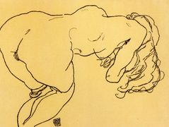 Long haired nude, bent over forward, jerk view — Egon Schiele