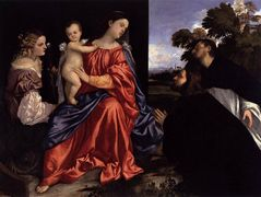 Madonna and Child with Sts Catherine and Dominic and a Donor — Titian