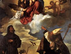 Madonna in Glory with the Christ Child and Sts Francis and Alvise with the Donor — Titian