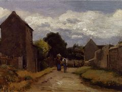 Male and Female Peasants on a Path Crossing the Countryside – Camille Pissarro