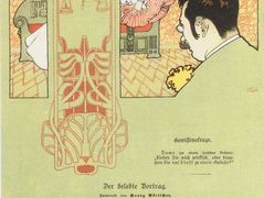 Matter of conscience. Humorous Illustration for Meggendorfers leaves. – Koloman Moser