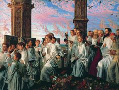 May Morning on Magdalen College Tower, Oxford  – William Holman Hunt