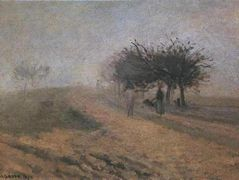 Misty Morning at Creil – Camille Pissarro