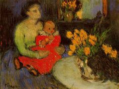 Mother and child behind the bouquet of flowers – Pablo Picasso