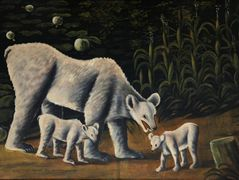 White bear with her cubs (in cornfield) – Niko Pirosmani