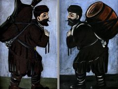 Workers with a barrel (diptych) – Niko Pirosmani
