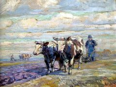 Nice landscape with Ox and farmer – Nikolay Bogdanov-Belsky