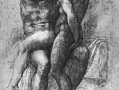 Nude female seated on the knees of a seated male nude: Adam and Eve — Michelangelo