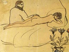 Nude with Picasso by her feet – Pablo Picasso