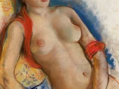 Nude with red scarf – Zinaida Serebriakova