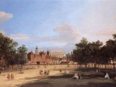 Old Horse Guards and the Banqueting Hall, Whitehall from St. James's Park – Canaletto