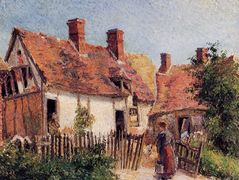 Old Houses at Eragny – Camille Pissarro