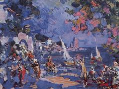 Oriental slave market.Sketch of set for A.Adam`s and C. Pugni`s ballet – Konstantin Korovin