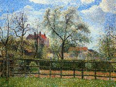 Pear Trees and Flowers at Eragny, Morning – Camille Pissarro