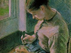 Peasant girl drinking her coffee – Camille Pissarro