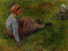 Peasant Sitting with Infant – Camille Pissarro