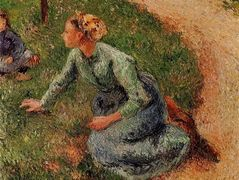 Peasant Trimming the Lawn – Camille Pissarro