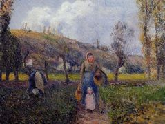 Peasant Woman and Child Harvesting the Fields, Pontoise – Camille Pissarro