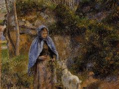 Peasant Woman with a Goat – Camille Pissarro