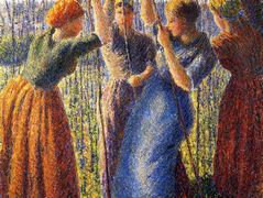 Peasant Women Planting Stakes – Camille Pissarro