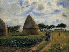 Peasants and Hay Stacks – Camille Pissarro