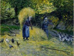 Peasants Carrying Straw, Montfoucault – Camille Pissarro
