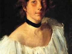 Portrait of a Lady in a White Dress (aka Miss Edith Newbold) – William Merritt Chase