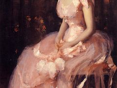 Portrait of a Lady in Pink (aka Lady in Pink Portrait of Mrs. Leslie Cotton) – William Merritt Chase