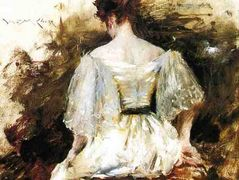 Portrait of a Woman – The White Dress – William Merritt Chase