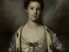 Portrait of Bridget Moris in a White Silk Dress – Joshua Reynolds
