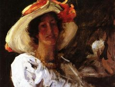 Portrait of Clara Stephens Wearing a Hat with an Orange Ribbon — William Merritt Chase
