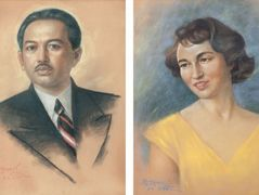 Portrait of Raden Mas Soedibio and his wife — Basuki Abdullah