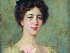 Portrait of the Young Lady with Pink Bow – Konstantin Makovsky