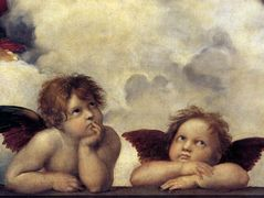 Putti, detail from The Sistine Madonna  — Raphael