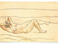 Reclining woman at the seashore — Pablo Picasso