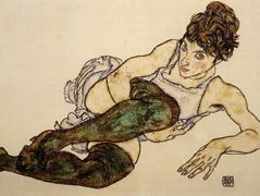Reclining Woman with Green Stockings (Adele Harms) — Egon Schiele