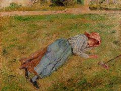 Resting, Peasant Girl Lying on the Grass, Pontoise – Camille Pissarro
