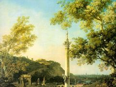 River Landscape with a Column – Canaletto