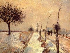 Road at Eragny, Winter – Camille Pissarro