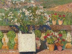 Roses and Geraniums on the Terrace at Marquayrol – Henri Martin